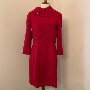 Tahari red suit dress with jacket petites